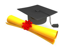 Graduation cap and scroll Royalty Free Stock Images