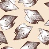 Graduation cap seamless pattern Stock Images