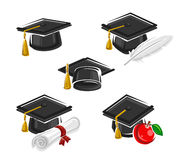 Graduation cap set. Vector Royalty Free Stock Photo
