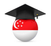 Graduation Cap with Singapore Flag Stock Photo