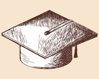 Graduation cap  sketch Stock Photos