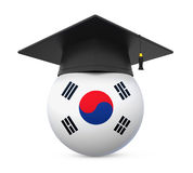 Graduation Cap with South Korea Flag Royalty Free Stock Image
