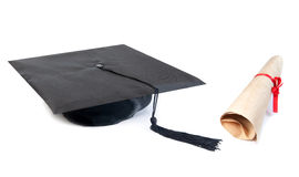 Graduation cap and sroll Royalty Free Stock Photography