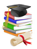 Graduation Cap on Stack of Books Royalty Free Stock Photography