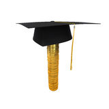 Graduation Cap on Stack of Money Coins Royalty Free Stock Image