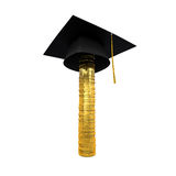 Graduation Cap on Stack of Money Coins Royalty Free Stock Images