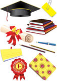 Graduation cap & stationery Royalty Free Stock Image