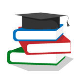 Graduation cap on stuck of books. A stack of colored books with a graduate hat stock illustration