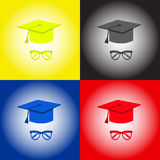 Graduation cap, student accessories hat and glasses. Yellow, black,blue, red. Royalty Free Stock Photography