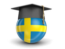 Graduation cap and Swedish flag Royalty Free Stock Photo