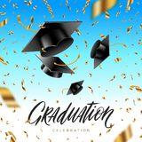 Graduation cap thrown up and golden foil confetti on a blue sky background. Stock Images
