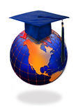 Graduation cap on top of world Stock Images