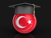 Graduation cap and Turkish flag Stock Images