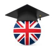 Graduation Cap with United Kingdom Flag Stock Images