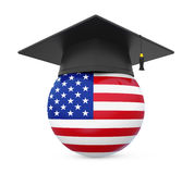 Graduation Cap with United States Flag Royalty Free Stock Images