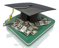 Graduation cap on US money - education costs Stock Photography