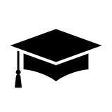 Graduation cap vector icon. Isolated on white background Royalty Free Stock Images