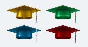 Graduation cap vector realistic isolated illustrations set