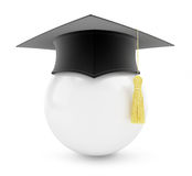Graduation cap white ball Stock Image