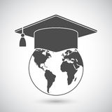 Graduation Cap and World Globe Icon Royalty Free Stock Image
