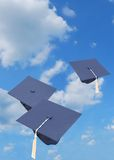 Graduation caps Royalty Free Stock Photos