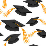 Graduation caps. Seamless background with graduation caps Stock Image