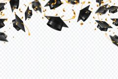 Graduation Caps Confetti. Flying Students Hats With Golden Ribbons Isolated. University, College School Education Vector Royalty Free Stock Photos