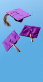Graduation caps flying in the air Stock Photo