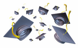 Graduation caps and mortar boards thrown Royalty Free Stock Images
