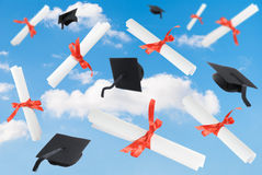Graduation Caps & Scrolls Royalty Free Stock Images