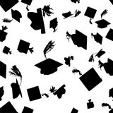 Graduation caps seamless pattern Stock Photo