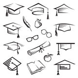 Graduation caps. Set of graduation caps and other educational icons Royalty Free Stock Photo