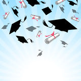 Graduation caps in the sky Stock Photography