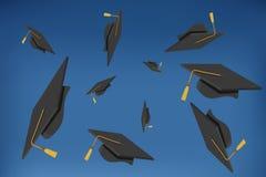 Graduation Caps Thrown in the Air. Illustration of Graduation Caps Thrown in the Air Royalty Free Stock Photos