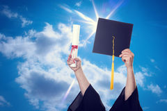 Graduation Caps Thrown in the Air Stock Photography