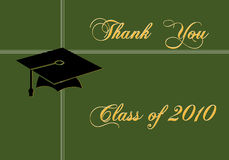 Graduation card. Graduation card on green background stock illustration