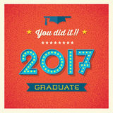 2017 graduation card or banner design. Retro 2017 graduation card or banner design with vintage light bulb sign numbers. Vector illustration royalty free illustration