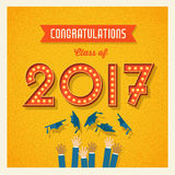 2017 graduation card or banner design. Retro 2017 graduation card or banner design with vintage light bulb sign numbers. Vector illustration stock illustration