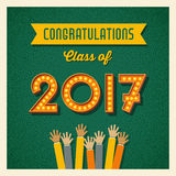 2017 graduation card or banner design. Retro 2017 graduation card or banner design with vintage light bulb sign numbers. Vector illustration vector illustration
