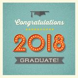 2018 graduation design with light bulb sign numbers Royalty Free Stock Photo