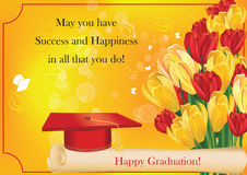 Graduation card with cap, diploma, crocus and tulips. Graduation greeting card with crocus flowers and tulips, graduation cap and diploma. Print colors used Stock Image