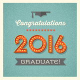 2016 graduation card with marquee lighted numbers. Retro graduation card design with vintage marquee lighted numbers Stock Photography