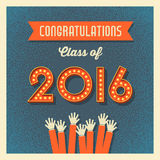 2016 graduation card with marquee lighted numbers. Retro graduation card design with vintage marquee lighted numbers Stock Photos