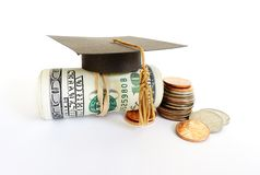 Graduation cash and coins Royalty Free Stock Photography
