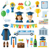 Graduation Celebrating Concept Icon Set Royalty Free Stock Photo