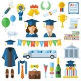 Graduation Celebrating Concept Icon Set Royalty Free Stock Photo