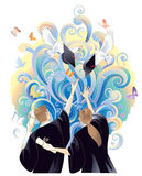 Graduation celebration. Graduate students throwing mortarboards with celebration vector illustration