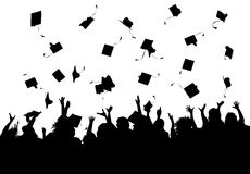 Graduation Celebration. Illustration of a group of graduates tossing their caps in celebration of graduation Stock Image