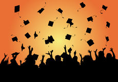 Graduation Celebration. Illustration of a group of graduates tossing their caps in celebration of graduation on the orange background Royalty Free Stock Image
