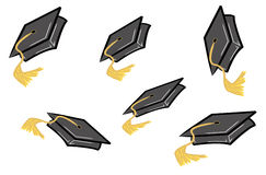 Graduation celebration. Graduation caps or hats being tossed in the air - vector Royalty Free Stock Photos